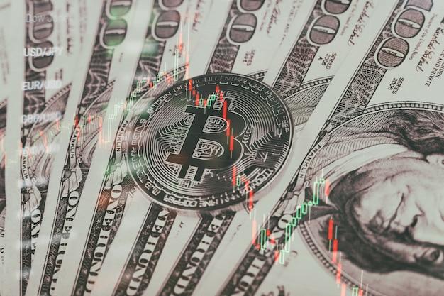 El gráfico muestra un fuerte aumento en el precio de bitcoin. invertir en activos virtuales. plataforma de inversión con gráficos y moneda bitcoin.