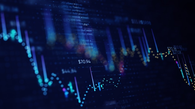 Gráfico de negocios financieros con diagramas y números de acciones que muestran ganancias y pérdidas