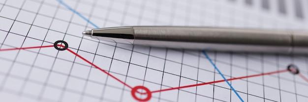 Gráfico con primer plano del informe del plan de finanzas. concepto de seguro y servicio financiero de negocios