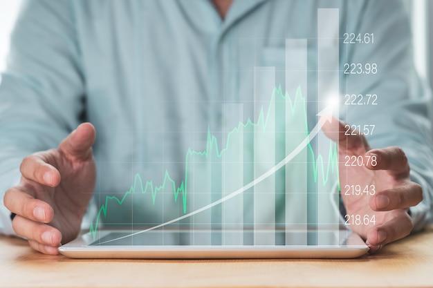 Gráfico de protección empresarial y gráfico de tendencias para el mercado de valores financiero y la inversión en operaciones de cambio.