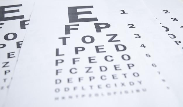 Gráfico de prueba ocular. diagnóstico médico del ojo
