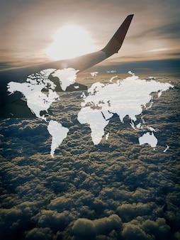 Gráfico de soporte global del continente del mapa del mundo