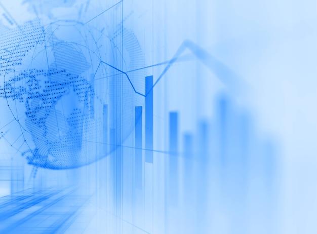 Gráfico técnico financiero sobre fondo abstracto de tecnología