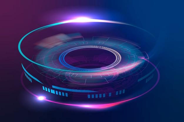 Gráfico de tecnología avanzada de lente óptica en violeta neón