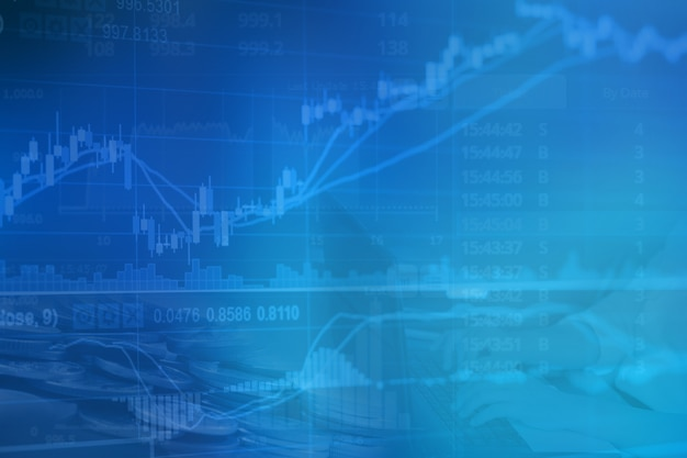 Gráfico de velas financieras abstracto con gráfico de líneas y números de acciones
