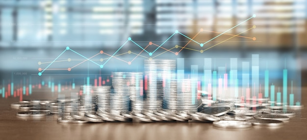 Gráfico de velas del gráfico de comercio de divisas del mercado de valores adecuado para el concepto de inversión financiera y monedas