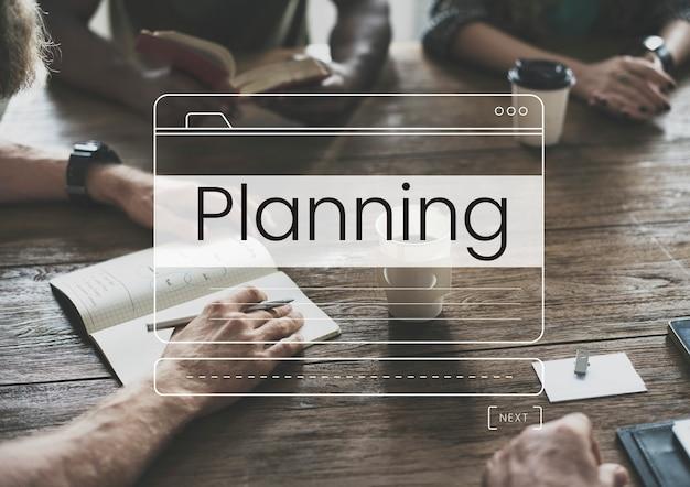 Gráfico de ventana de cuadro de mensaje de planificación empresarial