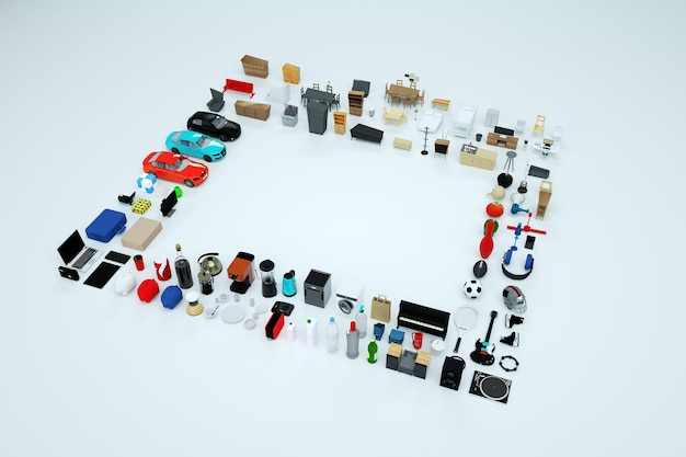 Gráficos 3d, gran cantidad de modelos 3d de electrodomésticos y muebles. colección de artículos de computadora, teléfono, tetera, tostadora, consola de juegos, etc. objetos aislados sobre un fondo blanco