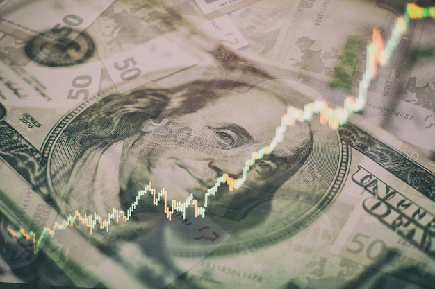 Gráficos de barras, diagramas, cifras financieras. gráfico de forex. tabla de gráfico de velas de comercio de inversión en el mercado de valores. el gráfico de forex en la pantalla digital.