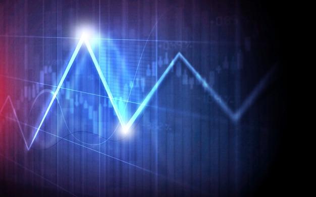 Gráficos financieros y gráficos de línea de fondo gráfico en pantalla