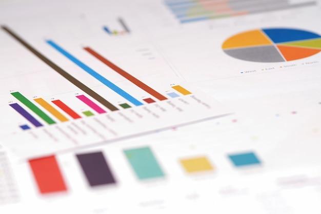 Gráficos gráficos de hoja de cálculo de papel.