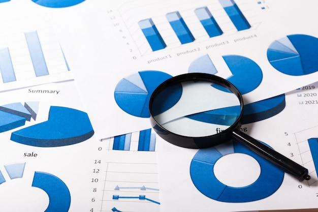 Gráficos de negocios azules