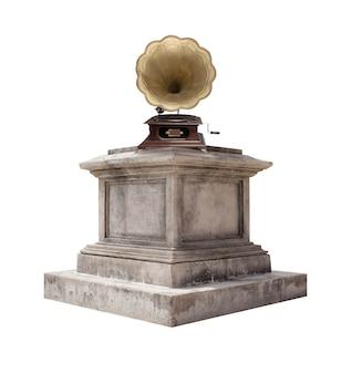 Gramófono en un pedestal de mármol