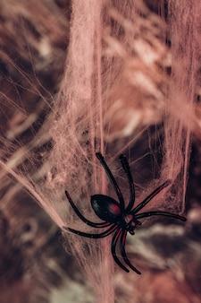 Gran araña negra y una telaraña. fondo para halloween