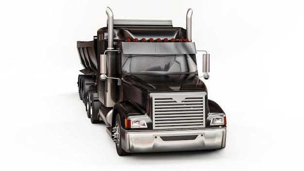 Gran camión americano negro con un camión volquete tipo remolque para transportar carga a granel sobre un fondo blanco. ilustración 3d.