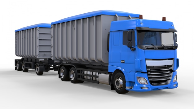 Gran camión azul con remolque separado.