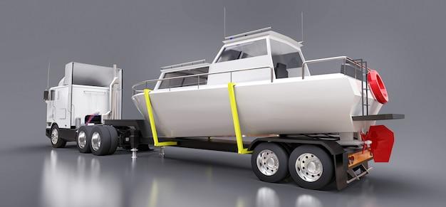 Un gran camión blanco con un remolque para transportar un bote en una superficie gris