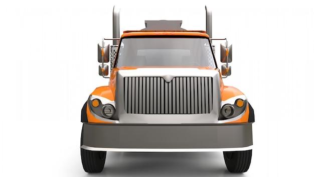 Gran camión cisterna naranja con un remolque de metal pulido. vistas desde todos los lados