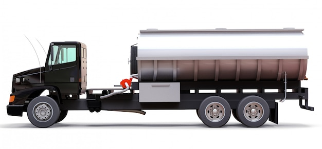 Gran camión cisterna negro con un remolque de metal pulido. vistas desde todos los lados. ilustración 3d