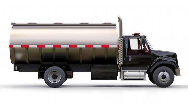 Gran camión cisterna negro con un remolque de metal pulido. vistas desde todos los lados