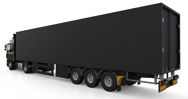 Gran camión negro con un semirremolque. plantilla para colocar gráficos. representación 3d