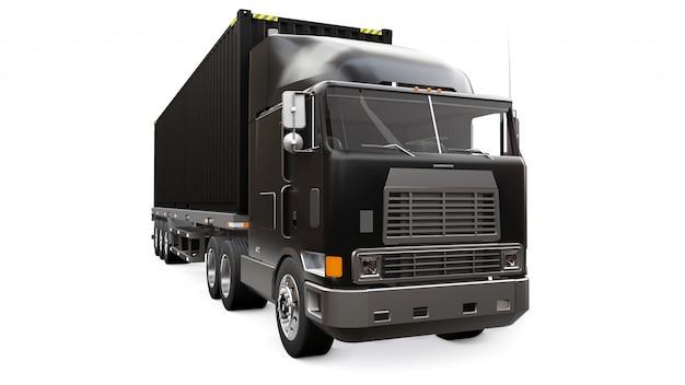 Un gran camión retro negro con una parte para dormir y una extensión aerodinámica lleva un remolque con un contenedor marítimo.