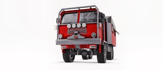 Gran camión rojo preparado para expediciones largas y desafiantes en áreas remotas