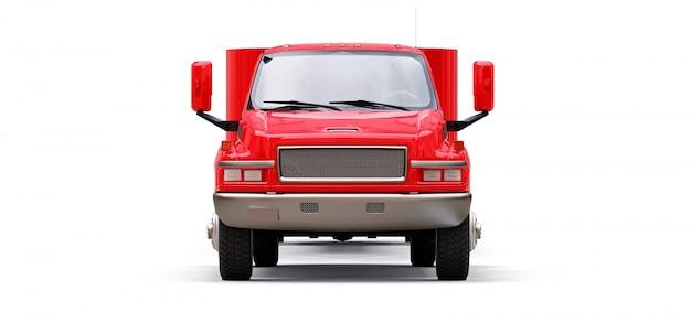 Gran camión rojo con un remolque para transportar un barco de carreras sobre un fondo blanco. representación 3d
