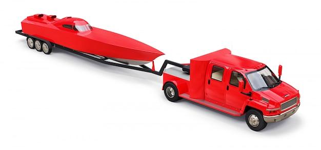 Gran camión rojo con un remolque para transportar un bote de carreras sobre una superficie blanca