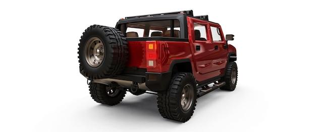 Gran camioneta todoterreno roja para campo o expediciones en superficie blanca aislada