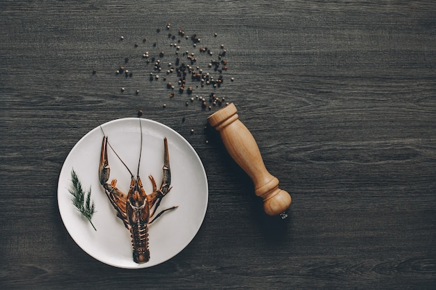 Gran cangrejo vivo fresco en plato blanco