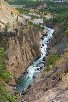 Gran cañón del parque nacional de yellowstone, fotografía de paisaje