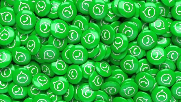 Una gran cantidad de pastillas brillantes verdes de whatsapp 3d en una vista de cerca