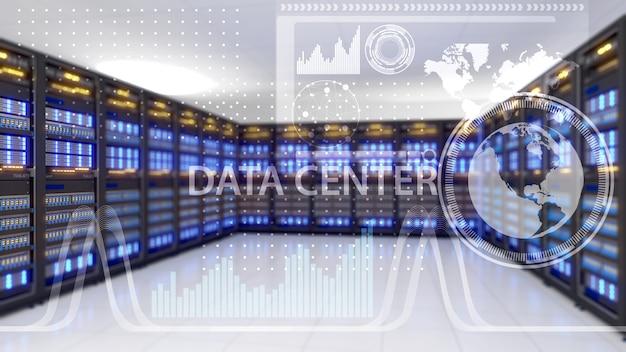 Gran centro de almacenamiento, centro de datos y tecnología de conectividad de datos, centro de datos, renderizado 3d