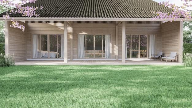 Gran césped verde con una pequeña casa de madera de fondo 3d render rodeado de un jardín verde