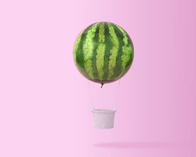 Gran concepto de sandía globo de aire caliente