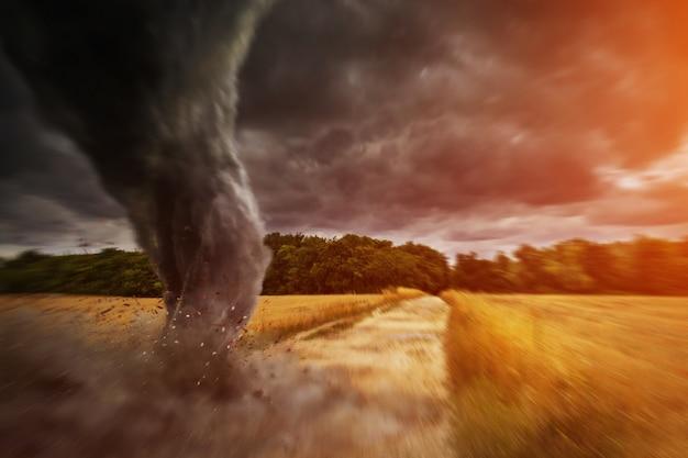 Gran desastre del tornado en una carretera