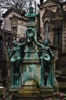 Gran estatua con dos mujeres en un cementerio en parís