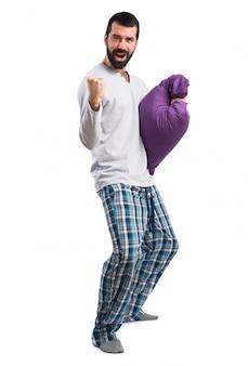 Gran excitado despertar hombre pijama