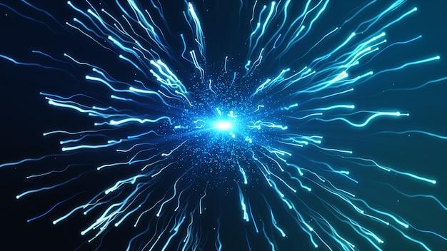 Una gran explosión azul partículas bajo un microscopio