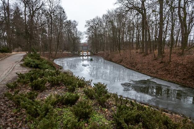 Gran lago en un hermoso parque cubierto de hielo