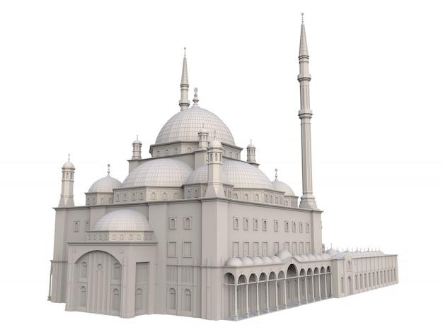 Una gran mezquita musulmana, trama tridimensional con líneas de contorno que resaltan los detalles de la construcción