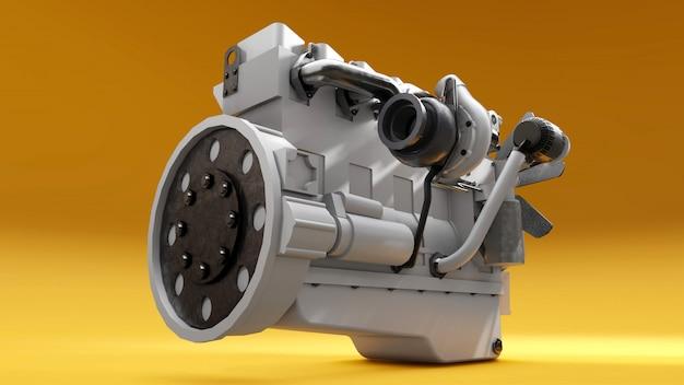Un gran motor diesel con el camión representado. representación 3d