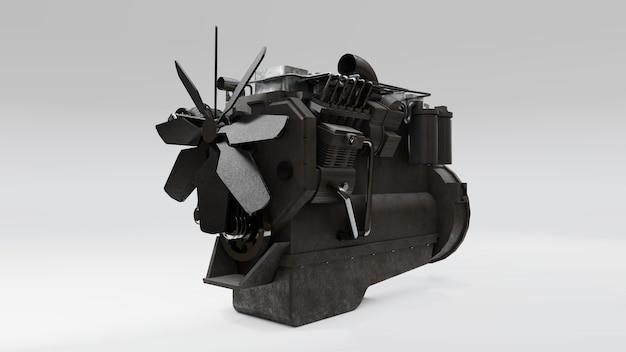 Un gran motor diesel con el camión representado. representación 3d.