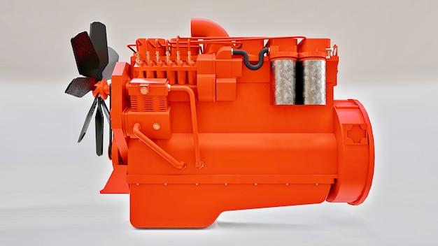 Un gran motor diesel con el camión representado