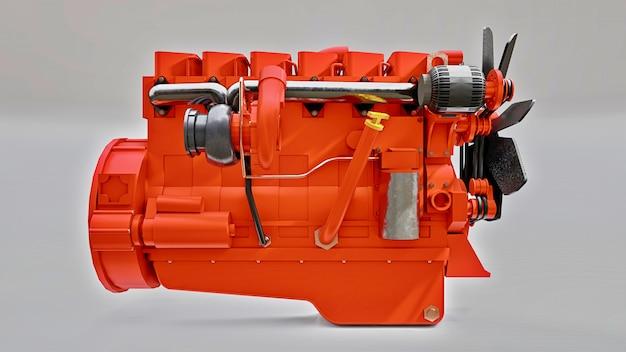 Un gran motor diesel con el camión representado.