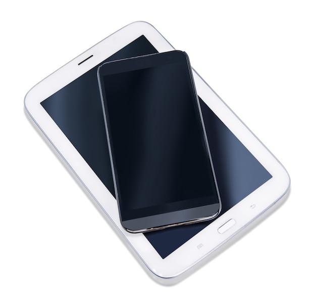 Gran pantalla de teléfono en blanco