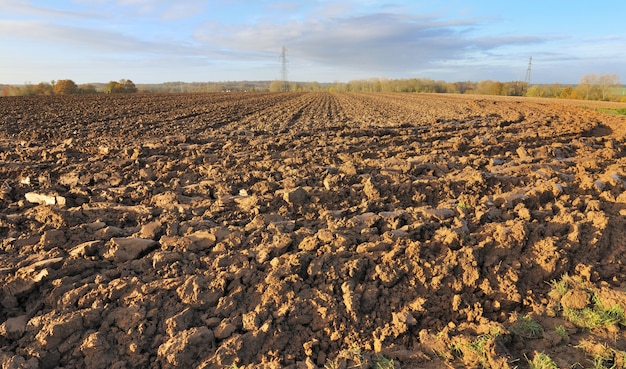 Gran terreno en un día soleado de otoño en el campo