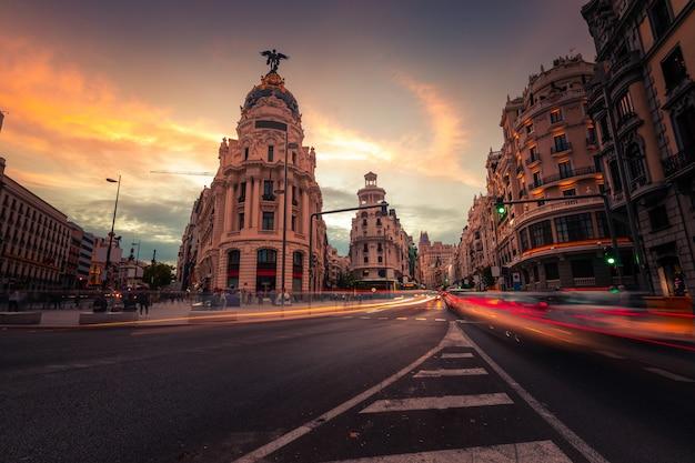 Gran vía, calle principal de madrid, españa.