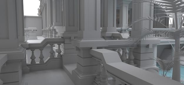 Gran villa de estilo asiático con jardín, piscina y pista de tenis. el edificio y el territorio en curvas de nivel con suaves sombras dispersas. ilustración 3d